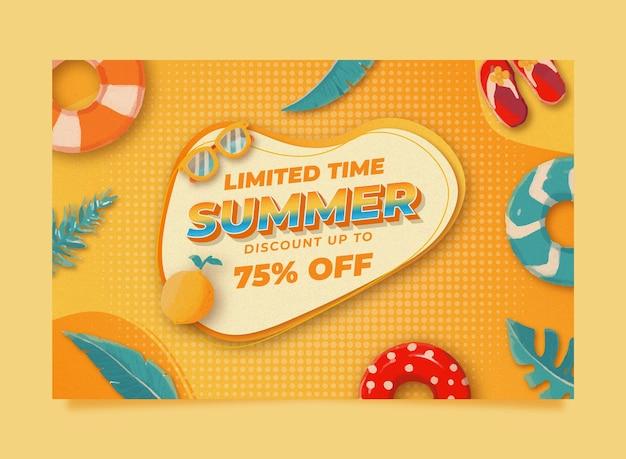 Modèle de bannière de vente d'été aquarelle memphis avec citron feuille et bouée