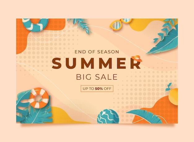 Modèle de bannière de vente d'été aquarelle memphis avec illustration de bouée de citron feuille et lunettes de soleil