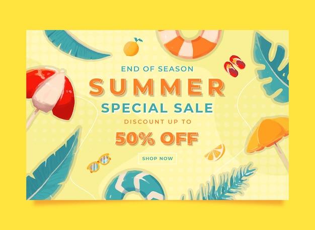 Modèle de bannière de vente d'été aquarelle memphis avec illustration de bouée de citron feuille et parapluie