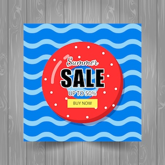 Modèle de bannière de vente d'été avec des bouées de sauvetage et des vagues