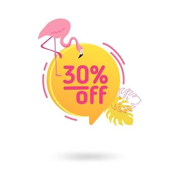 Modèle de bannière de vente d'été. bulle de dialogue géométrique abstraite liquide avec fleurs tropicales et flamant rose, toile de fond tropicale, badge promo pour offre saisonnière, promotion, publicité. illustration vectorielle
