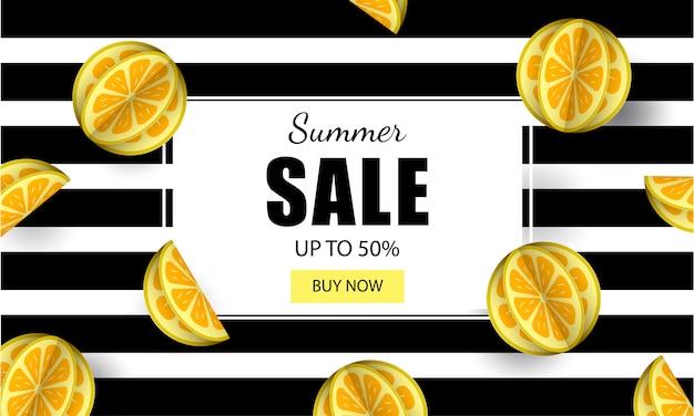 Modèle de bannière de vente d'été avec citrons