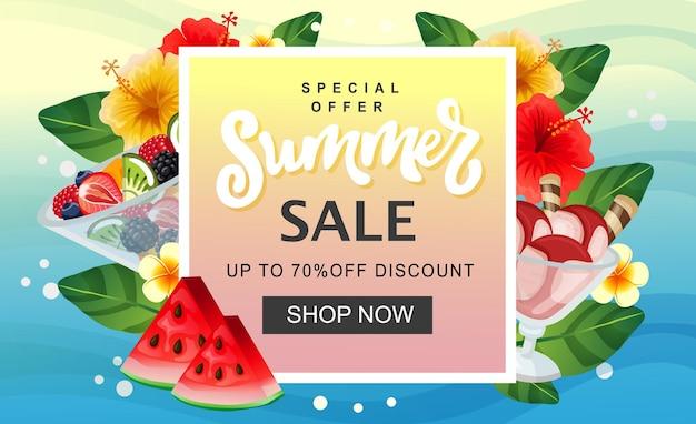 Modèle de bannière de vente d'été crème glacée aux fruits frais et frais colorés