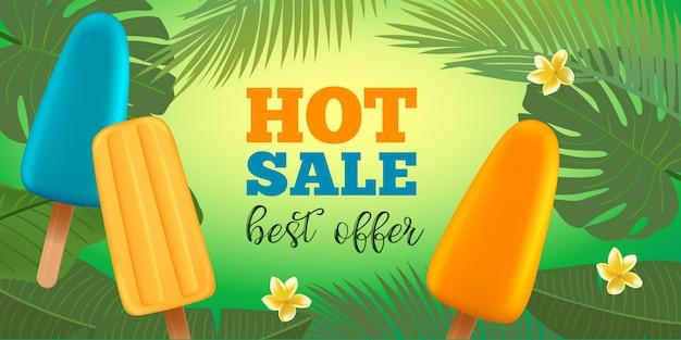 Modèle de bannière de vente d'été avec crème glacée popsicle, fleur de frangipanier et feuilles de palmier. insigne de typographie. vecteur