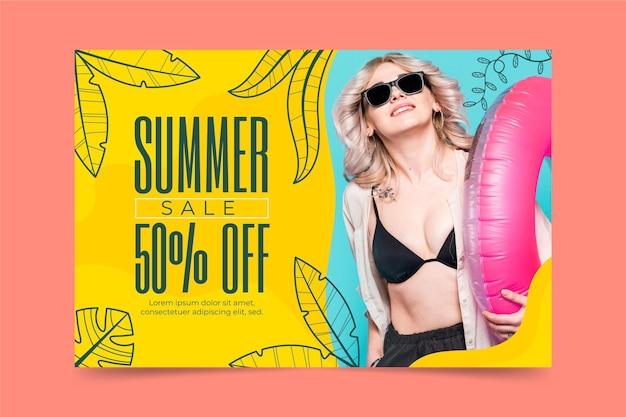Modèle de bannière de vente d'été de dessin animé avec photo