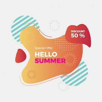 Modèle de bannière de vente de l'été. dessin géométrique abstrait d'été