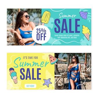 Modèle de bannière de vente d'été dessiné à la main avec photo