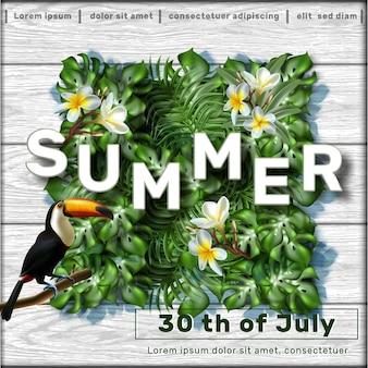 Modèle de bannière de vente d'été avec des feuilles tropicales et un oiseau tukan