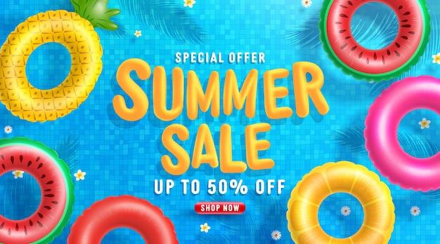 Modèle de bannière de vente d'été avec flotteur coloré sur l'eau