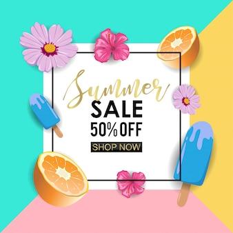 Modèle de bannière de vente de l'été avec des fruits, des fleurs et des glaces