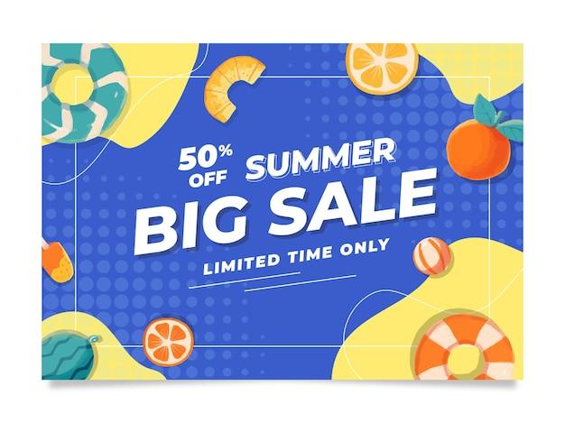 Modèle de bannière de vente d'été de memphis avec aquarelle et couleur pop
