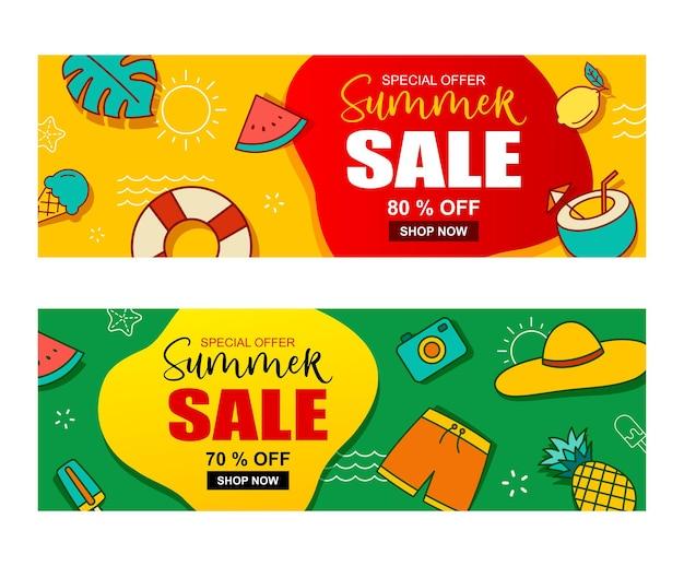 Modèle de bannière de vente d'été. offre spéciale remise d'été.