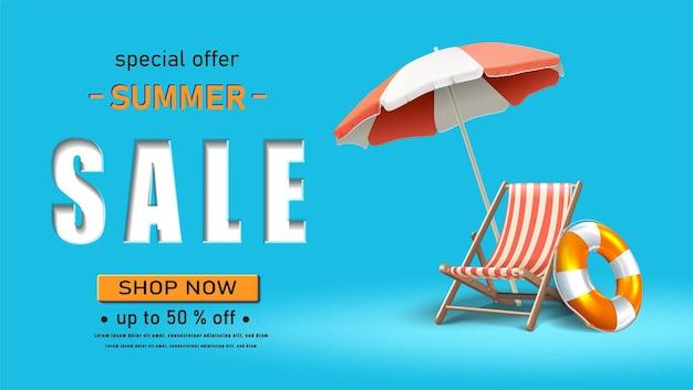 Modèle de bannière de vente d'été orientation horizontale avec transat et parasol sur fond bleu