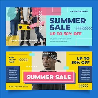 Modèle de bannière de vente d'été plat avec photo