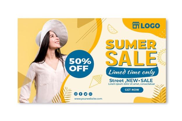 Modèle de bannière de vente d'été plat