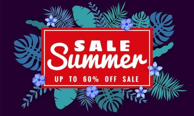 Modèle de bannière de vente d'été pour les ventes saisonnières avec des feuilles tropicales fleurs