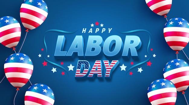Modèle de bannière de vente de la fête du travail des états-uniscélébration de la fête du travail des états-unis avec le drapeau américain en ballon sur bleu