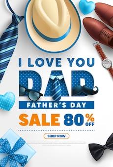 Modèle de bannière de vente de fête des pères avec cravate men hat neck et boîte-cadeau. salutations et cadeaux pour la fête des pères