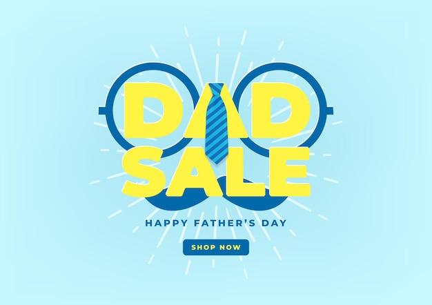 Modèle de bannière de vente de fête des pères heureux avec cravate. illustration vectorielle.