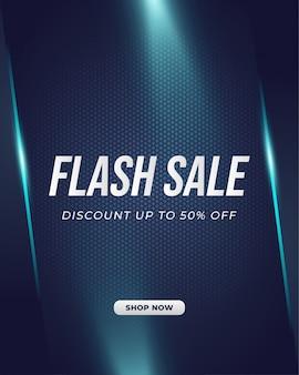 Modèle de bannière de vente flash avec un style futuriste