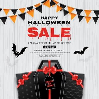 Modèle de bannière de vente halloween heureux cercueil avec arc rouge