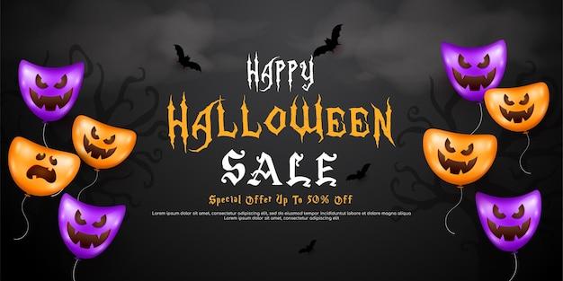 Modèle de bannière de vente halloween heureux