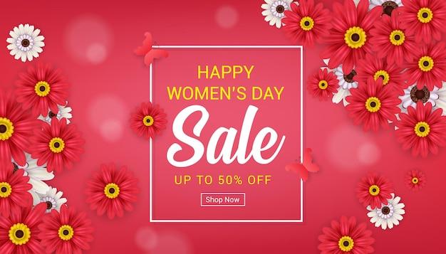 Modèle de bannière de vente heureuse journée des femmes avec fleur
