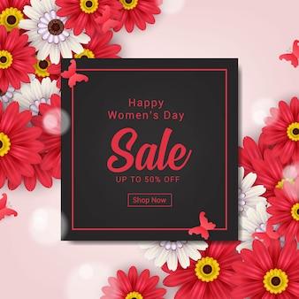 Modèle de bannière de vente heureuse journée des femmes