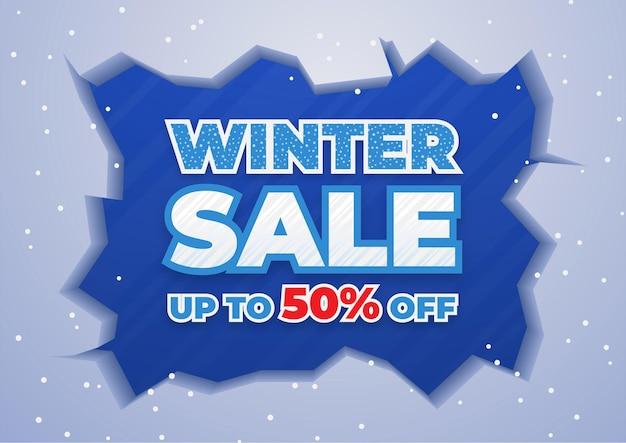 Modèle de bannière de vente d'hiver avec des chutes de neige sur fond bleu