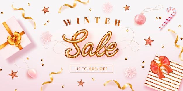 Modèle de bannière de vente d'hiver réaliste