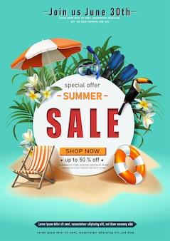 Modèle de bannière de vente d'île d'été avec des éléments de sable et d'été