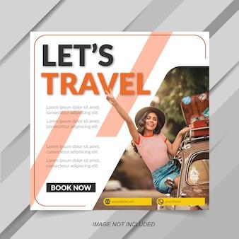 Modèle de bannière de vente instagram de vente de voyage