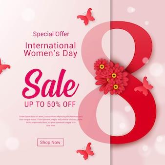 Modèle de bannière de vente de la journée internationale de la femme