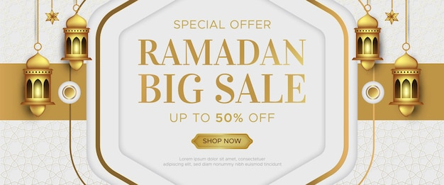 Modèle de bannière de vente de luxe ramadan kareem