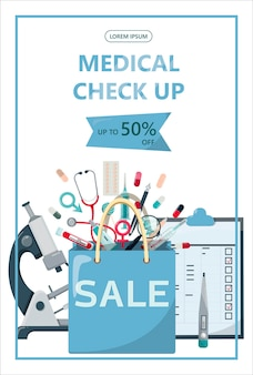 Modèle de bannière de vente médicale de vecteur pour les hôpitaux annonçant les pharmacies formant l'internat...