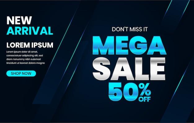 Modèle de bannière de vente mega discount dans le concept de techno moderne