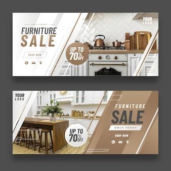 Modèle de bannière de vente de meubles dégradé avec photo