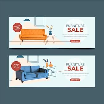 Modèle de bannière de vente de meubles plats organiques avec photo