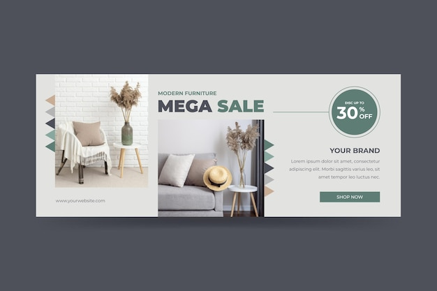 Modèle de bannière de vente de meubles plats organiques