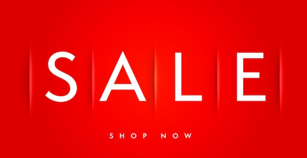Modèle de bannière de vente minimale réaliste avec offre de magasin maintenant. promotion de la campagne d'achat et publicité marketing. bannière web, affiche, pancarte, panneau d'affichage ou illustration vectorielle de conception d'autocollants