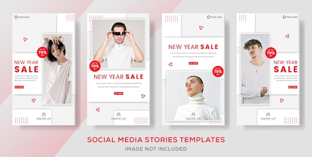 Modèle de bannière de vente de mode de nouvel an pour la publication d'histoires de médias sociaux