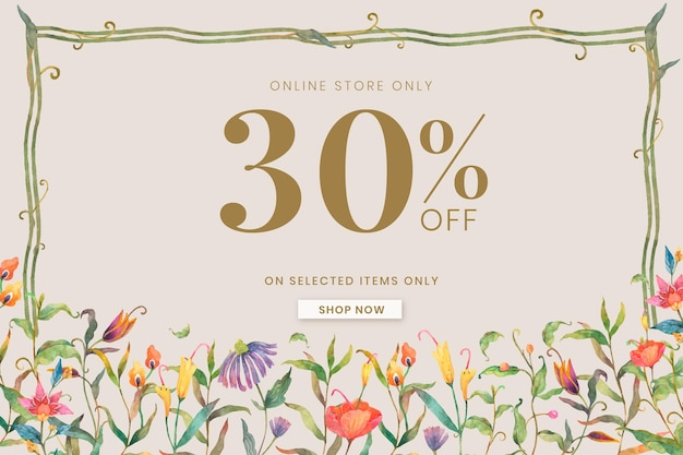 Modèle de bannière de vente modifiable avec paons aquarelles et fleurs sur fond beige avec 30% de réduction