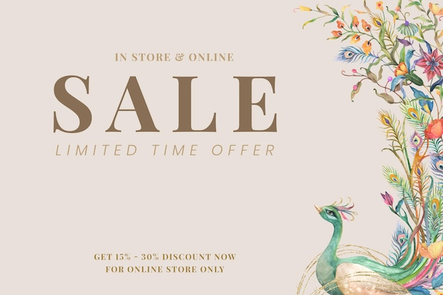 Modèle de bannière de vente modifiable avec des paons aquarelles et des fleurs sur fond beige pour une offre de vente à durée limitée
