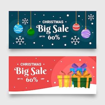 Modèle de bannière de vente de noël design plat