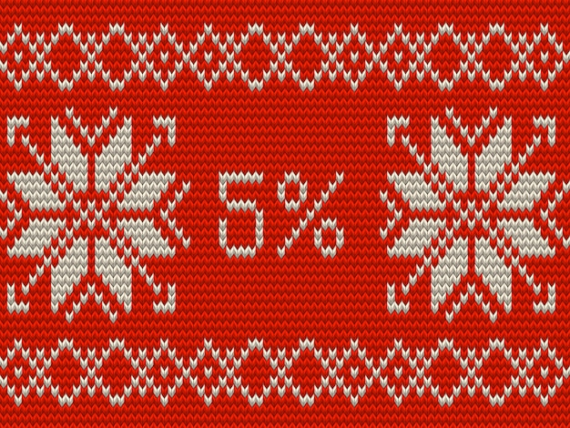 Modèle de bannière de vente de noël. style d'ornements scandinaves tricotés à cinq pour cent. et comprend également