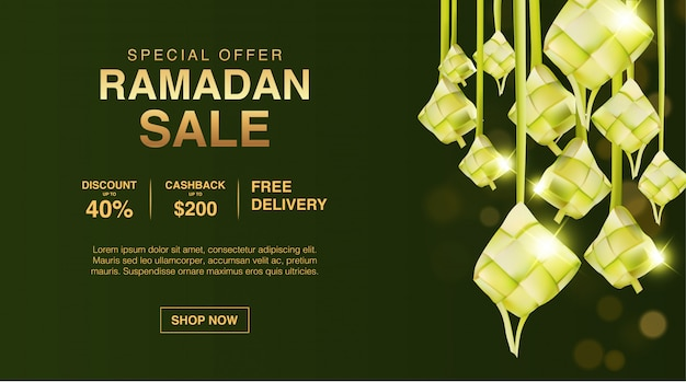 Modèle de bannière de vente d'or du ramadan
