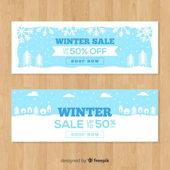 Modèle de bannière de vente paysage plat hiver