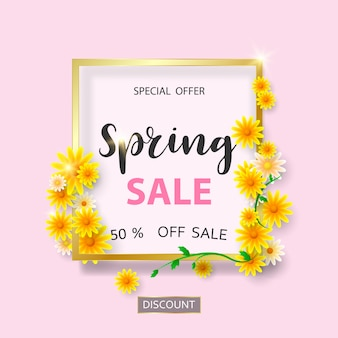 Modèle de bannière de vente de printemps avec belle fleur.