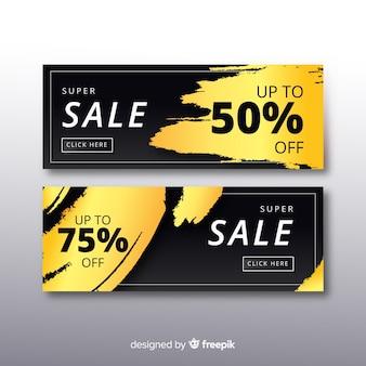 Modèle de bannière de vente promotionnelle d'or