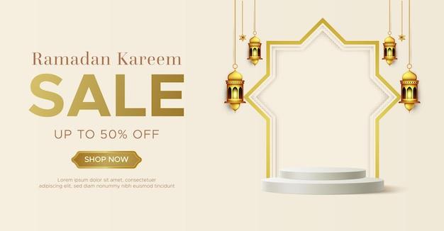 Modèle de bannière de vente réaliste ramadan kareem avec podium 3d